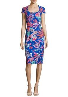 David Meister Cap-Sleeve Floral Ponte Sheath Dress