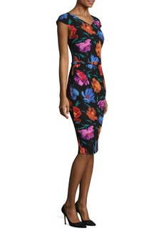 David Meister Cap Sleeve Floral Sheath Dress