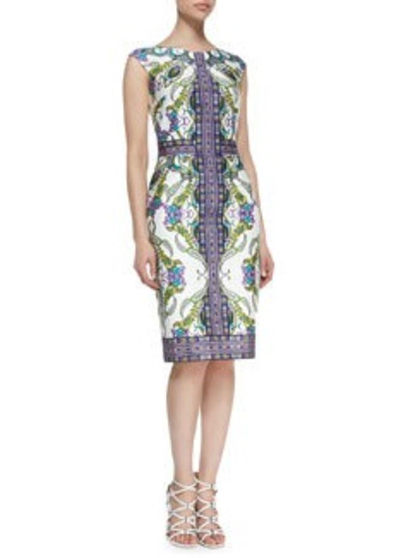 David Meister Cap-Sleeve Paisley-Print & Patterned Sheath Dress