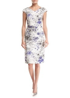 David Meister Cap-Sleeve Scattered Floral-Print Sheath Dress