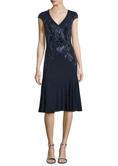 David Meister Cap-Sleeve V-Neck Beaded Drop-Waist Cocktail Dress