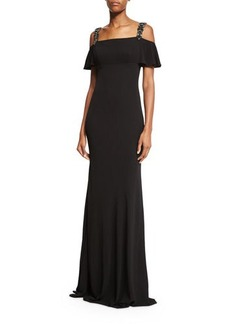 David Meister Cold-Shoulder Embellished Gown