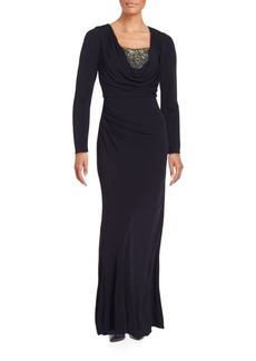 David Meister Cowlneck Long Sleeve Empire Gown