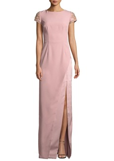 David Meister Crepe Column Gown w/ Beaded Sleeves