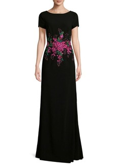 David Meister Crepe Floral Embroidered Gown