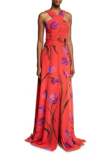 David Meister Cross-Front Floral Chiffon Gown
