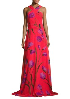 David Meister Cross Neck Halter Floral-Printed Gown