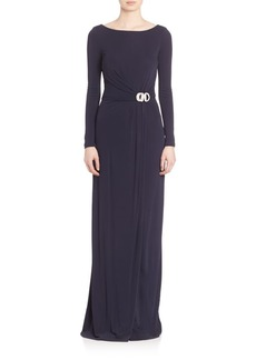 David Meister Draped Long Sleeve Jersey Gown