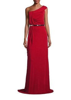 David Meister Draped One-Shoulder Belted Gown