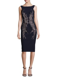 David Meister Embellished Crepe Sheath Dress