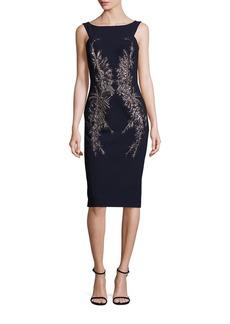 David Meister Embellished Crepe Sheath Dress