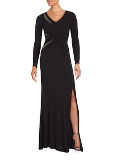 David Meister Embellished Front Slit Dress