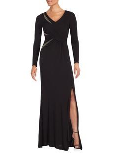 David Meister Embellished Front Slit Dress