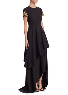 David Meister Embellished Hi-Lo Gown