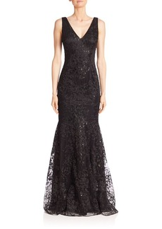 David Meister Embellished Lace Mermaid Gown