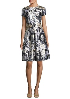 David Meister Embellished Metallic Floral-Print Cocktail Dress