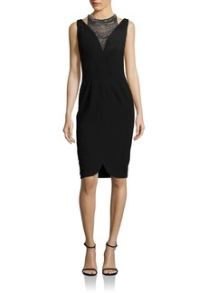 David Meister Embellished Neck Dress