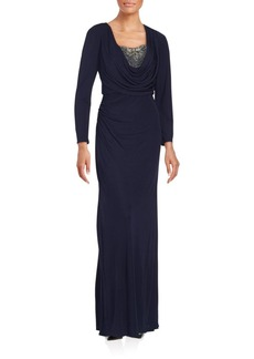 David Meister Embellished Solid Gown