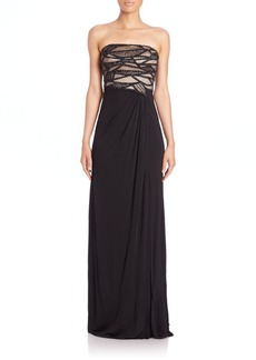 David Meister Embellished Strapless Gown