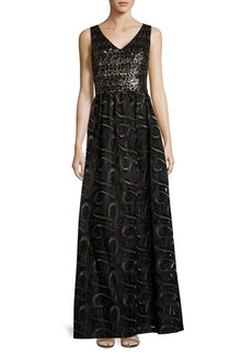 David Meister Embellished V-Neck Empire Gown