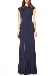 David Meister Embellished Woven Gown