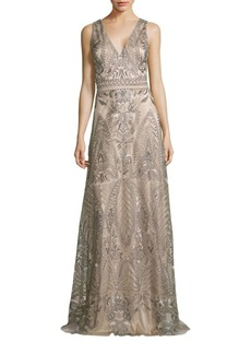 David Meister Embroidered Evening Gown