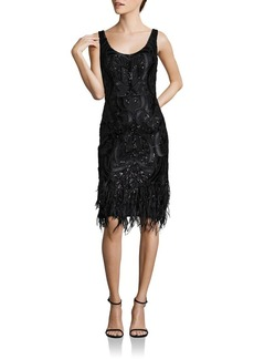 David Meister Embroidered Feathered Shift Dress