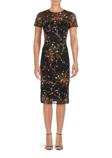 David Meister Embroidered Floral Pattern Dress