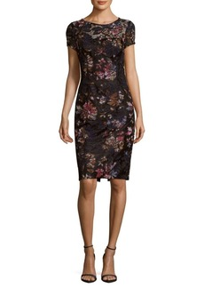 David Meister Embroidered Floral-Print Dress