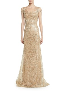 David Meister Embroidered Gown w/ Metallic Floral Appliqué