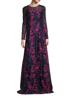 David Meister Embroidered Lace Gown