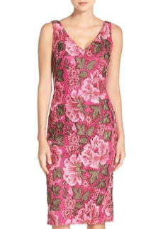 David Meister Embroidered Lace Sheath Dress
