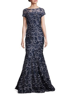 David Meister Embroidered Mermaid Gown