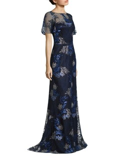David Meister Embroidered Metallic Evening Gown