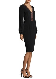 David Meister Embroidered Neckline Sheath Dress