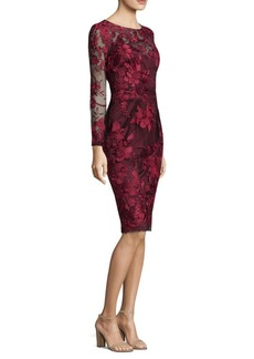 David Meister Embroidered Overlay Sheath Dress