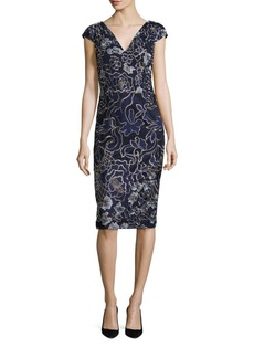 David Meister Embroidered Sheath Dress