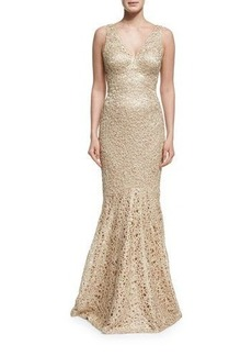 David Meister Embroidered Sleeveless V-Neck Mermaid Gown