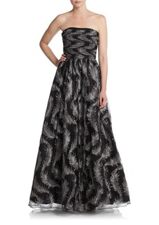 David Meister Strapless Feather Tulle Gown