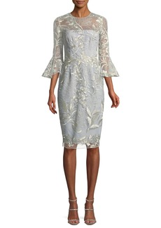 Embroidered Trumpet-Sleeve Cocktail Dress