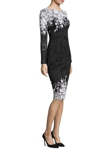 David Meister Embroidered Two-Tone Lace Dress