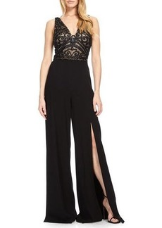 David Meister Embroidered Wide-Leg Evening Jumpsuit