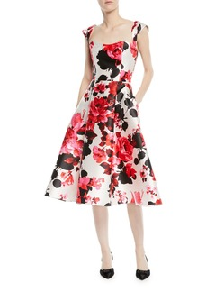 Fit-&-Flare Floral-Print Tea-Length Dress