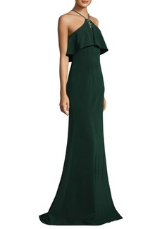 David Meister Floor-Length Halter Popover Crepe Gown
