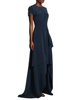 David Meister Floor-Length Tiered Asymmetrical Hem Gown