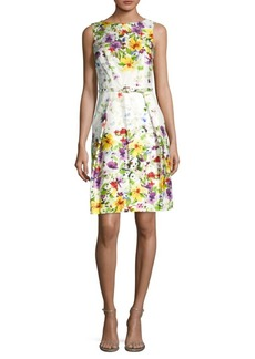 David Meister Flora-Print Belted Sheath Dress