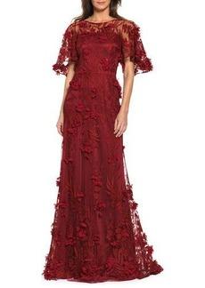David Meister Floral-Appliqué Illusion Evening Gown
