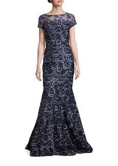 David Meister Floral Applique Mermaid Gown
