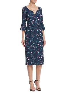 David Meister Floral Bell Sleeve Dress