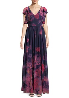 David Meister Floral Chiffon Dress w/ Ruffle Trim